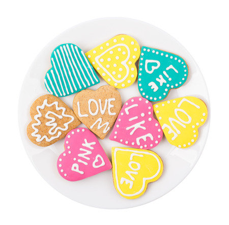 Cookies hearts in a plate isolated Stock Photo