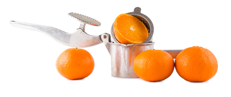 extractor: Juice extractor manual and oranges isolate Stock Photo