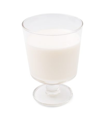 pasteurized: Transparent glass with milk isolate Stock Photo