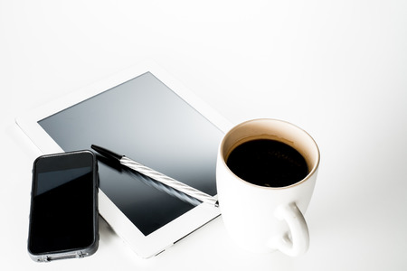 phone tablet and coffee