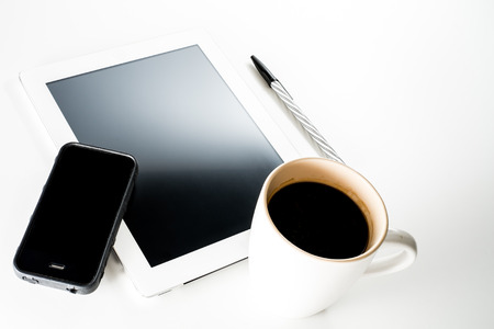 phone tablet and coffee photo