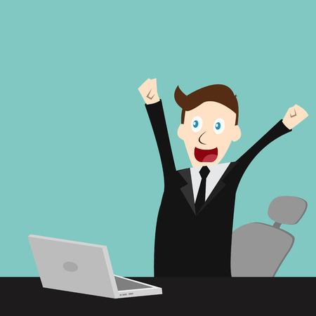 finished:  Happy businessman finished his work
