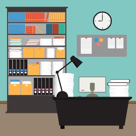 mobiliario de oficina: Interior de la sala de oficina Vector Vectores