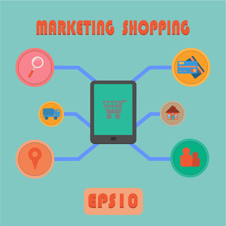 Marketing Shopping Process Vector