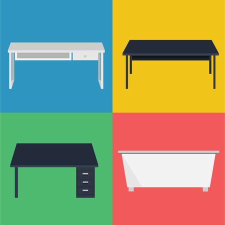 set of Desk Vector