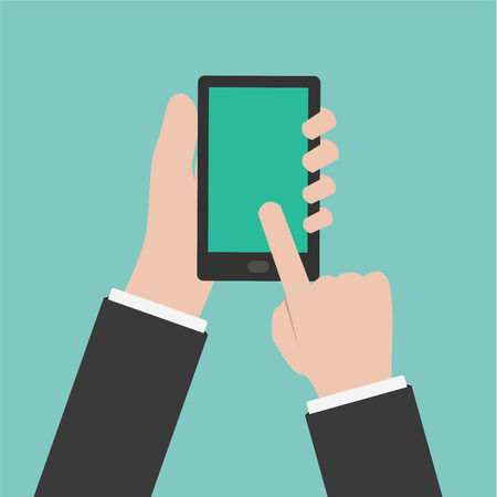 multi touch: hand touching smartphone screen Illustration