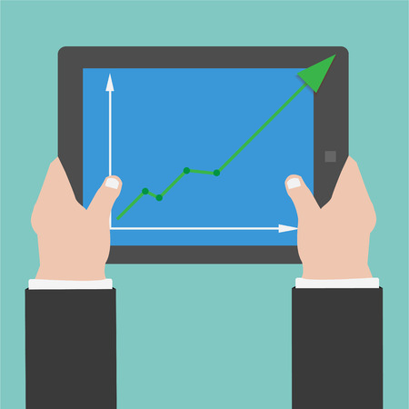 Hands holding Tablet with Graph is going up on Screen Vector