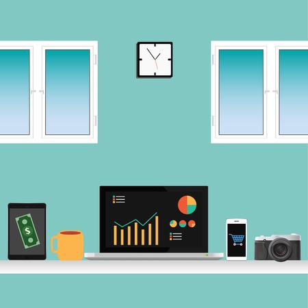 사무실 벡터 작업 노트북, 스마트 폰, 커피, 책상, 태블릿, 창에 대한 설정