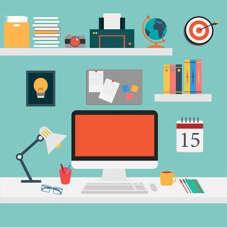 사무실의 벡터 작업 컴퓨터, 스마트 폰, 커피, 책상, 태블릿, 사진, 설정 주 일러스트