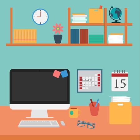 사무실의 벡터 작업 컴퓨터, 책, 커피, 책상에 설정