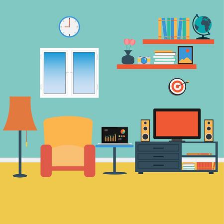 Vector of Living Room  Sofa ,Windows ,Book Vector