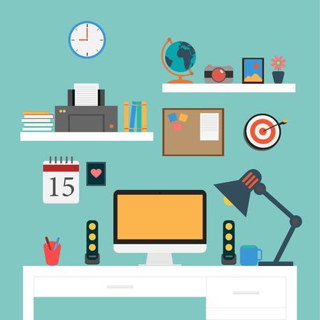 estação de trabalho: Workstation Vector Plano Escrit�rio Ilustra��o