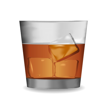 whisky glass: Vector of Whisky glass with cube ice Illustration