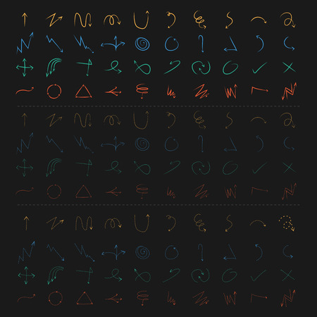 Vector of hand drawn arrows set Bold thin and dot line in colourful. Vector