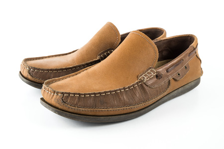 moccasins: men shoes  on white isolated