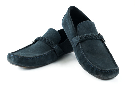 moccasins: blue suede men shoes  on white isolated