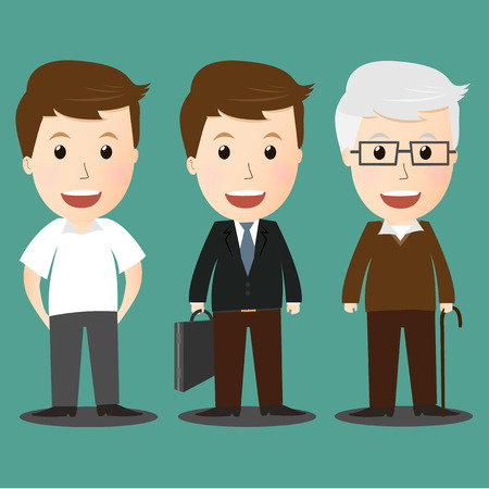 age progress of boy, businessman and senior man Vector