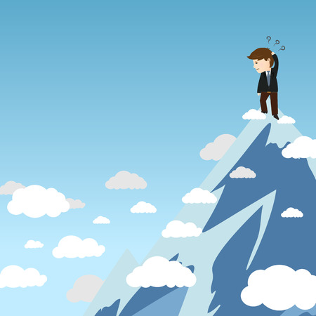 business opportunity: Vector of business man confuse to find opportunity in good better view point