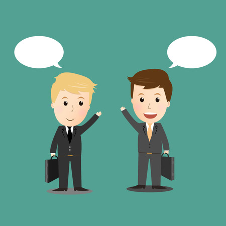 tin can phone: Two businessmen discussing for business Illustration