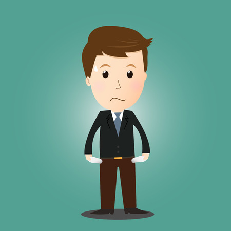 losing money: businessman have no money   in concept Illustration