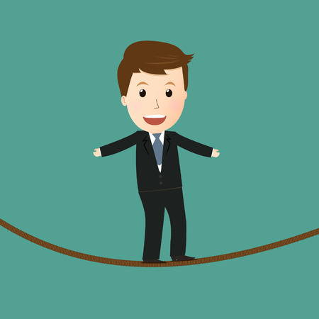 businessman walking on a high tightrope