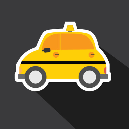 Vector of taxi car with long shadow Vector