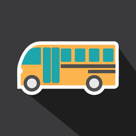 isolated background: Vector of school bus car with long shadow