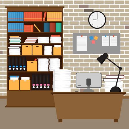 벡터 사무실 room.interior, 책, 책상, 시계, 컴퓨터, 종이