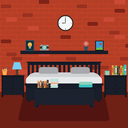 bedroom wall: Vector of bedroom with brick wall