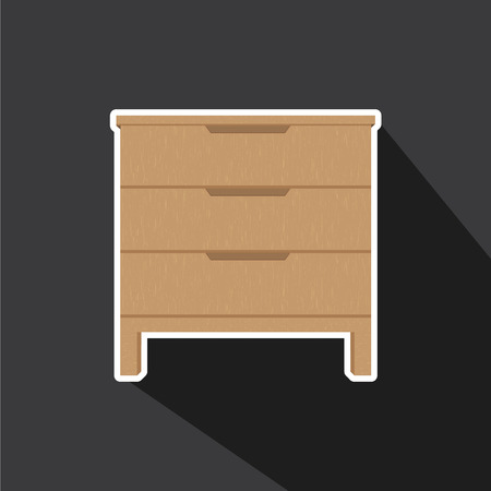 drawers: Vector of Drawers with wood texture in long shadow style