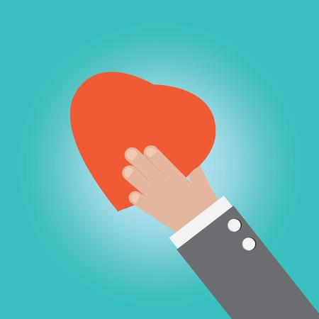 Vector of businessman hand holding heart Vector