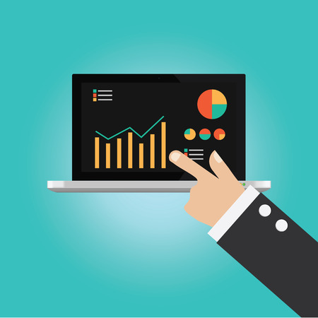 technical analysis: Vector of businessman hand point to technical analysis information Illustration