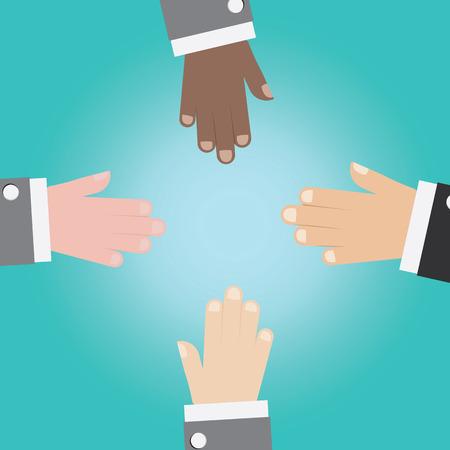 unite: Vector of businessman hand unite