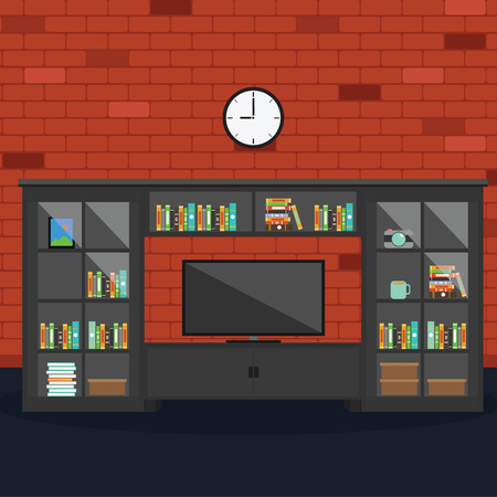 living room wall: Vector of Living room with brick wall