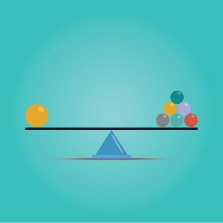 balanza en equilibrio: Vector de Escalas concepto de equilibrio