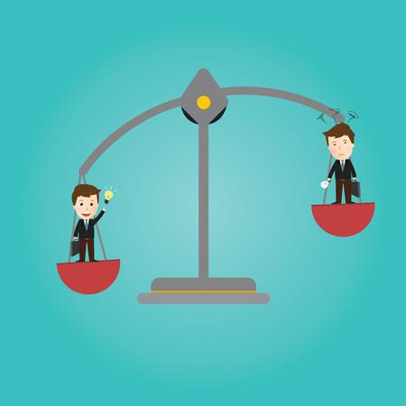 bad idea: Vector of Scales balance . businessman good idea and bad idea Illustration