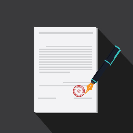 signing papers: vector of signing contract with long shadow style Illustration