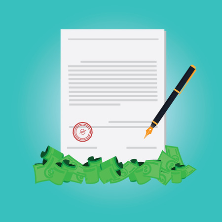 signing papers: Vector of hand signing contract for make money