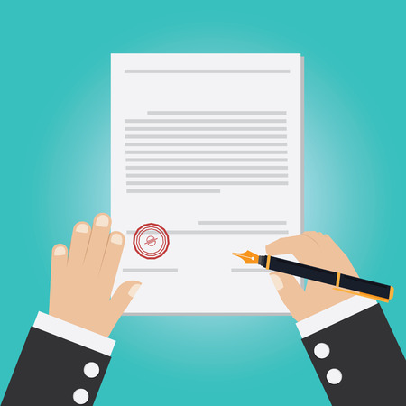 signing papers: Vector of hand signing contract Illustration