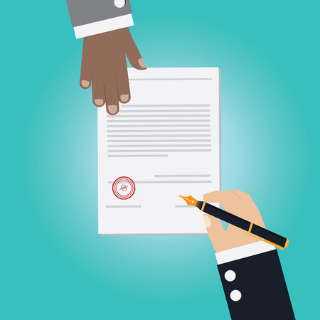 signing contract: Vector of businessman Hand making deal for signing contract