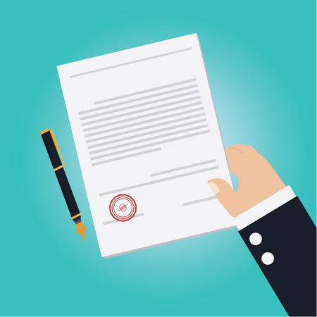 signing: Vector of Hand making agreement for signing contract Illustration
