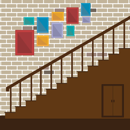 wooden stairs: Vector of stair and photo frame