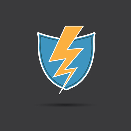 Vector of thunder lighting with shield Vector