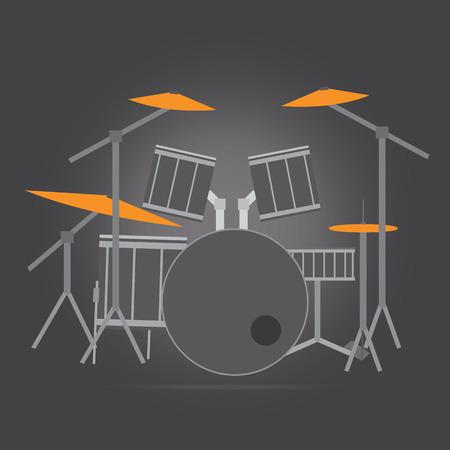 Vector of drum set flat design Illustration