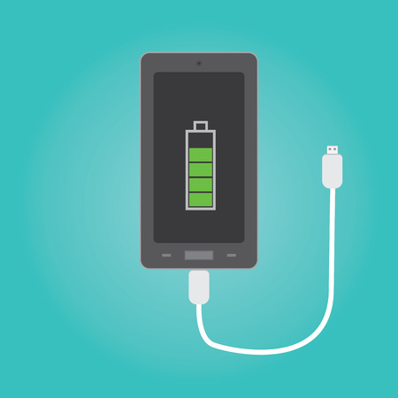 Vector of phone charging Иллюстрация