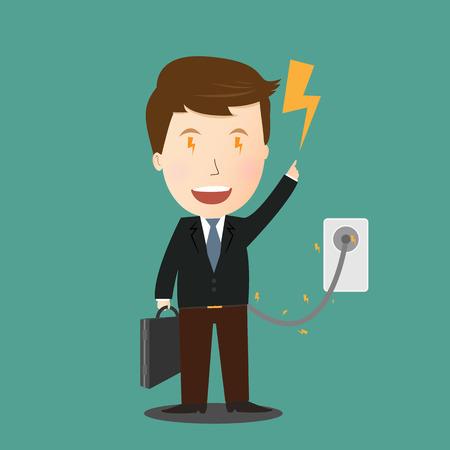 charging: Vector of Businessman charging Illustration