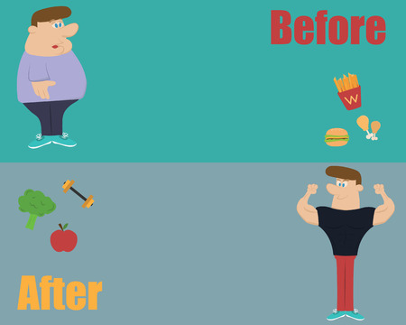 thin man: Vector de fitness y comer alimentos limpios antes y despu�s