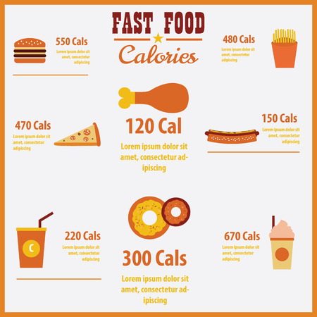 Vector infographic fast food calories