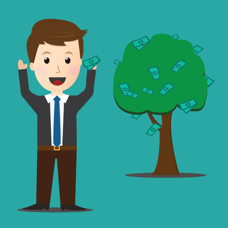 branch to grow up: Vector of Businessman on dollar money grow up.profit