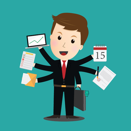 Vector of Businessman task a lot of work.
